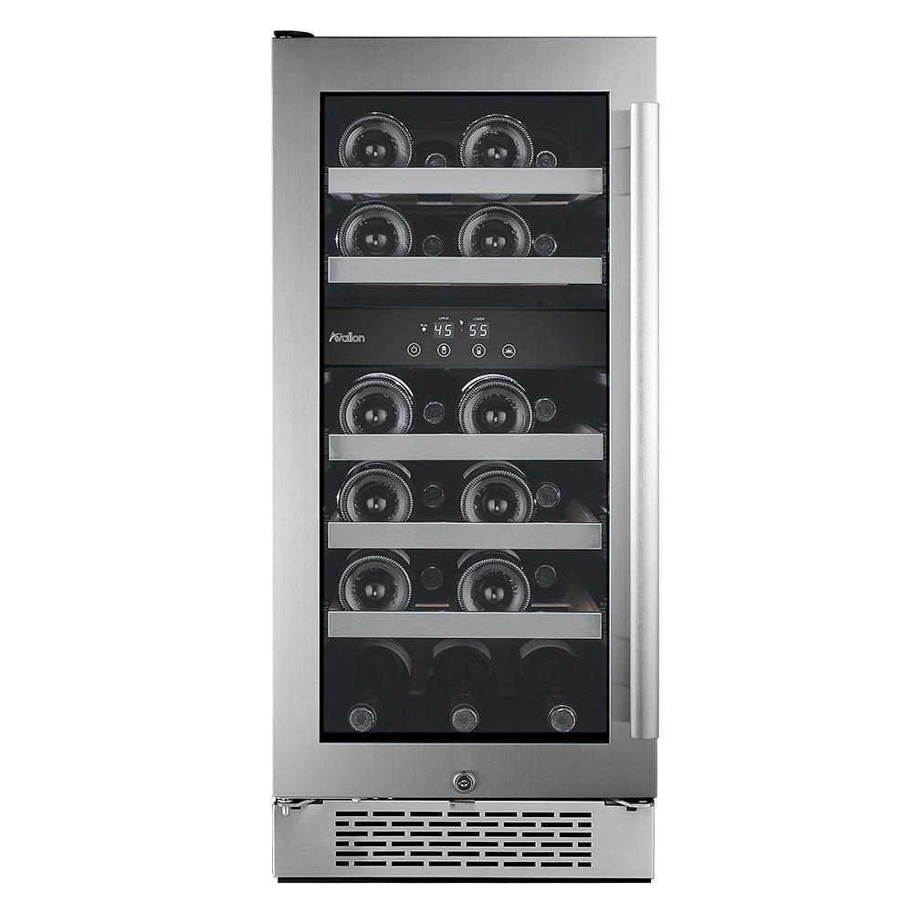 23-Bottle 15 in. Dual Zone Wine Cooler with Argon Filled Double