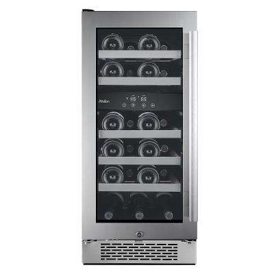 23-Bottle 15 in. Dual Zone Wine Cooler with Argon Filled Double Paned Glass - Left Hinge