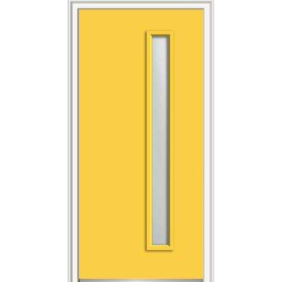 36 in. x 80 in. Viola Left-Hand Inswing 1-Lite Frosted Glass Painted Steel Prehung Front Door on 6-9/16 in. Frame