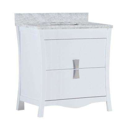 Tracy 30 in. W x 19 in. D x 34 in. H Single Vanity in White with Carrara Marble Vanity Top in White with White Basin