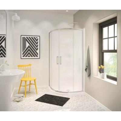 Radia 40 in. x 40 in. x 71-1/2 in. Frameless Neo-Round Sliding Shower Door with Mistelite Glass in Brushed Nickel