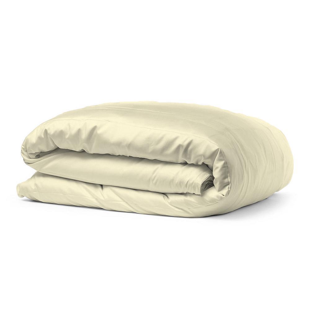 100% Certified Organic Cotton Sateen Wrinkle Resistant Cream King Duvet Cover