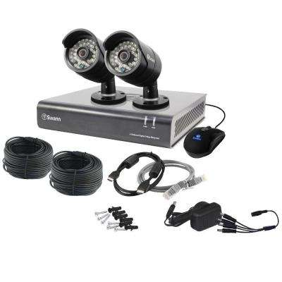 4-Channel 4400 AHD 720p 500GB Surveillance DVR with 2 x PRO-A850 Black Bullet Cameras