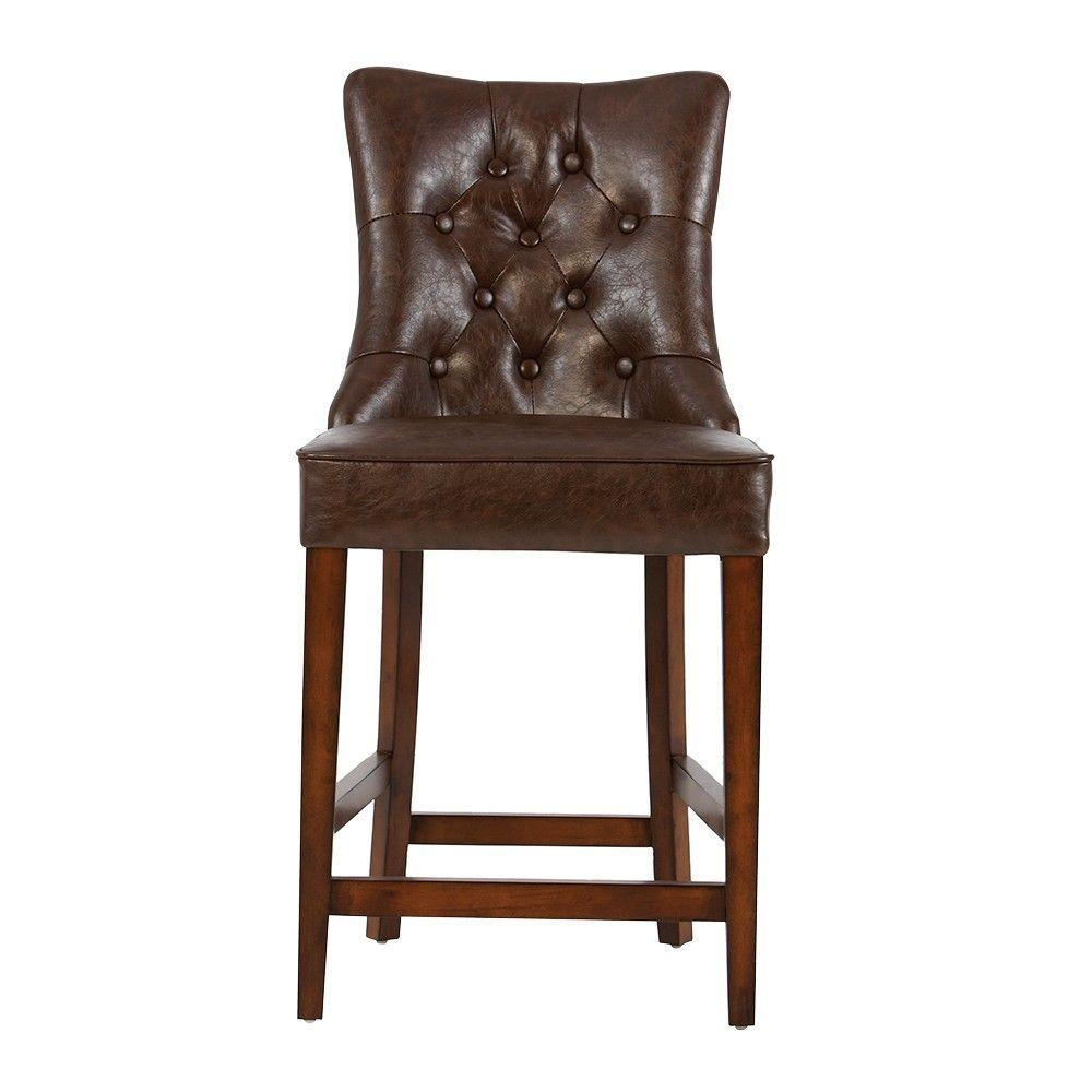 Home Decorators Collection Rebecca 39 In Brown Cushioned Counter Stool 2084100740 The Home Depot