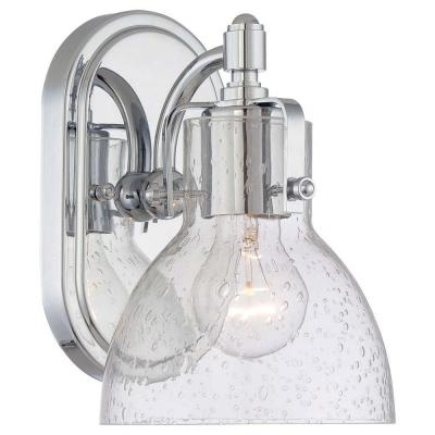 1-Light Chrome Bathroom Sconce with Clear Seeded Shade
