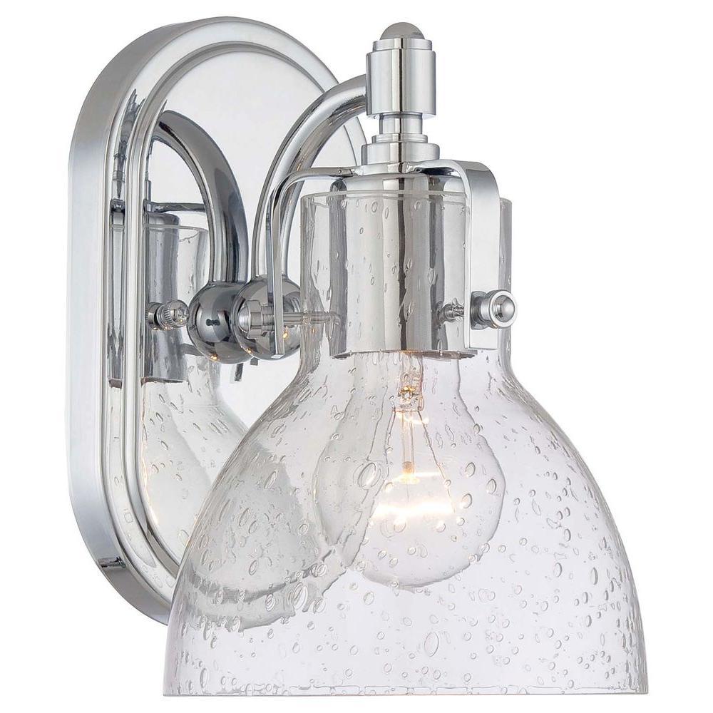 1-Light Chrome Bathroom Sconce with Clear Seeded Shade