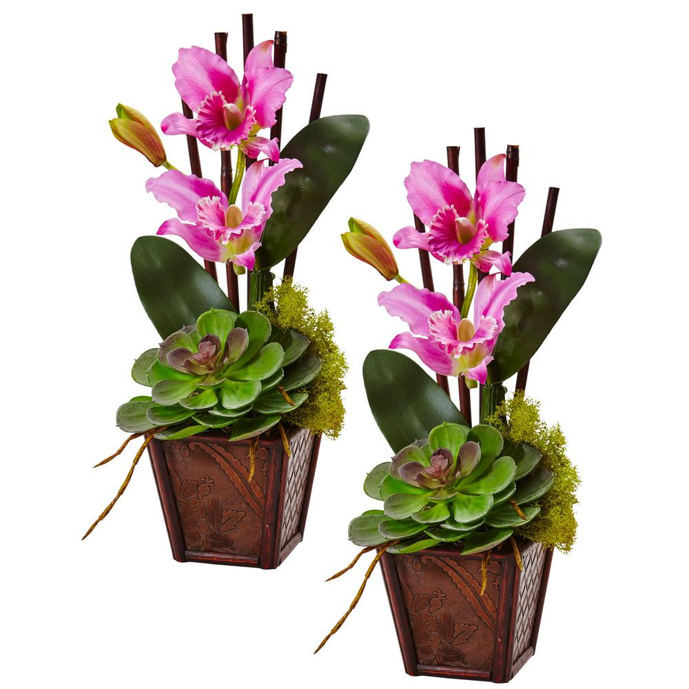 Nearly Natural 14.75 in. Cattleya Orchid and Succulent Arrangement in Purple (Set of 2)