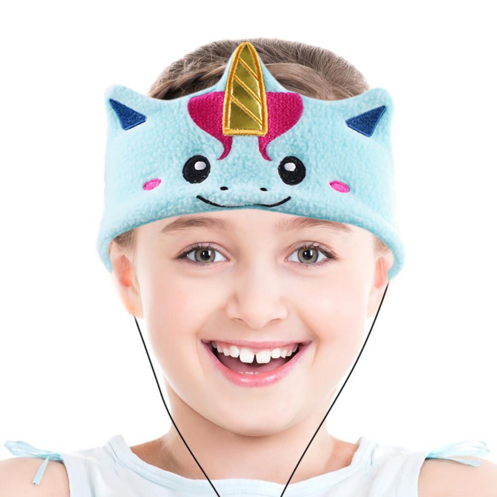 Kids Headphones Volume Limiter Machine Washable Fleece Headphones for Children Travel/Home w/ Adjustable Band (Unicorn)
