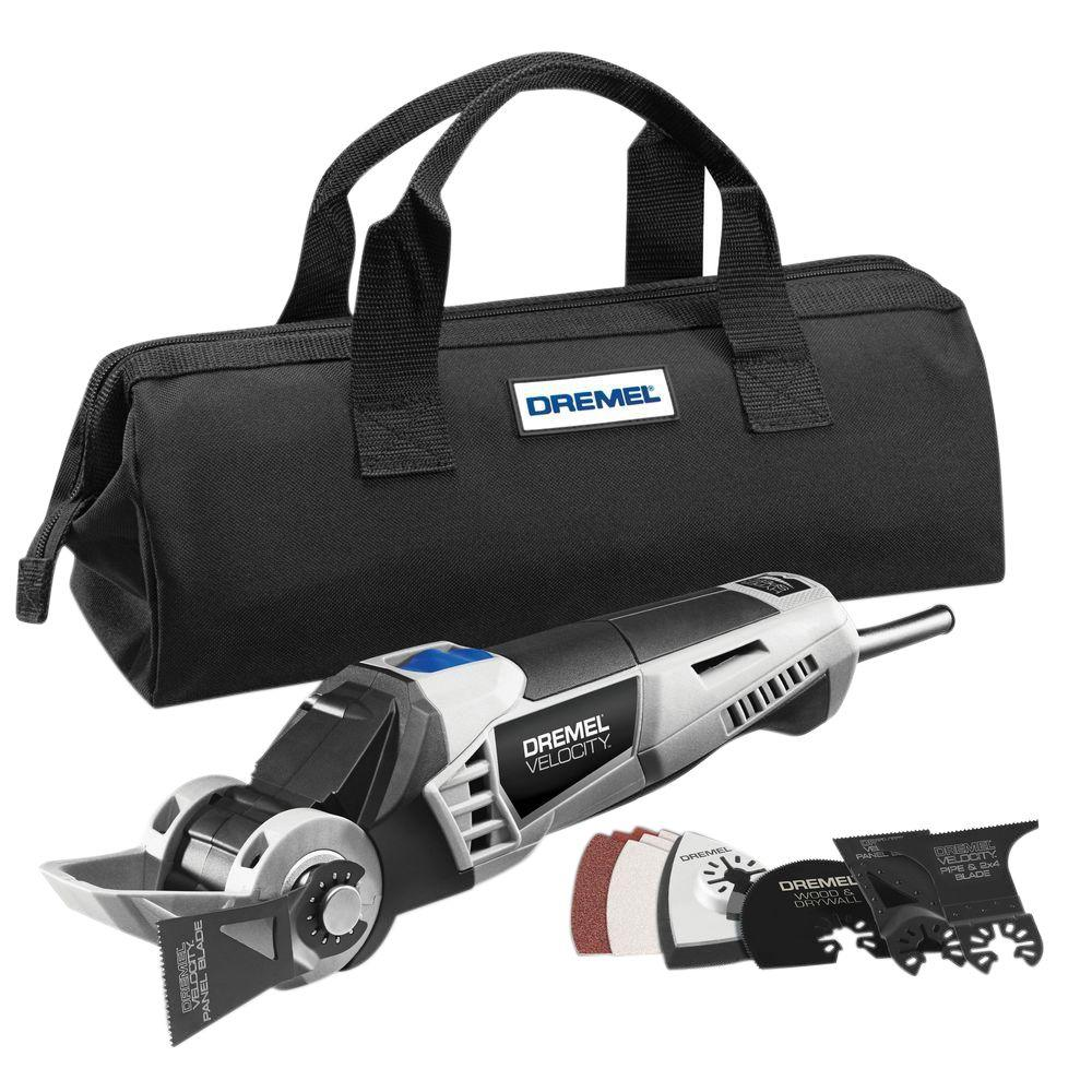 Dremel Velocity 7.0 Amp Variable Speed Corded 2-Position Oscillating Multi-Tool Kit for Plywood, Drywall, PVC Pipe, Wood & Tile
