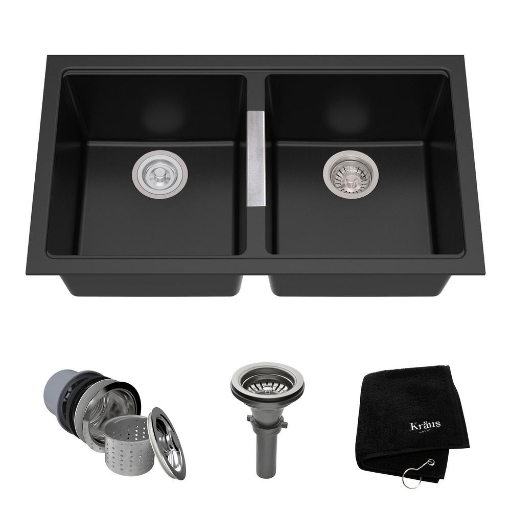 Granite Composite Undermount Kitchen Sinks Kraus undermount granite composite 33 in 5050 double basin kitchen kraus undermount granite composite 33 in 5050 double basin kitchen sink kit in workwithnaturefo