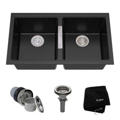 Undermount Granite Composite 33 in. 50/50 Double Basin Kitchen Sink Kit in Black