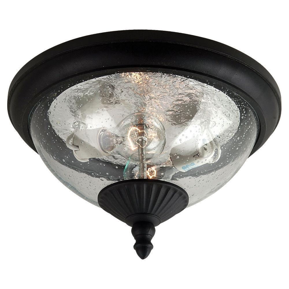 Lambert Hill 2-Light Black Outdoor Ceiling Fixture