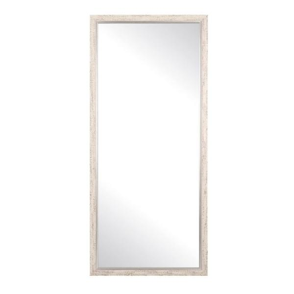 Oversized Distressed White/ Silver Trim Wood Hooks Farmhouse Modern Cottage Mirror (69 in. H X 30 in. W)