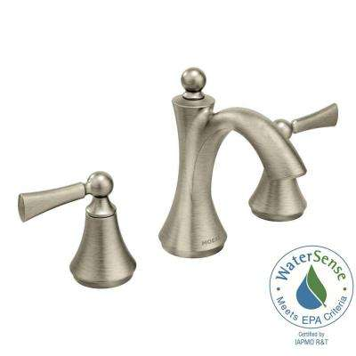 Wynford 8 in. Widespread 2-Handle High-Arc Bathroom Faucet with Lever Handles in Brushed Nickel (Valve Sold Separately)