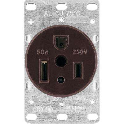 50 Amp Heavy-Duty Grade Flush Mount Power Receptacle with 3-Wire Grounding, Black
