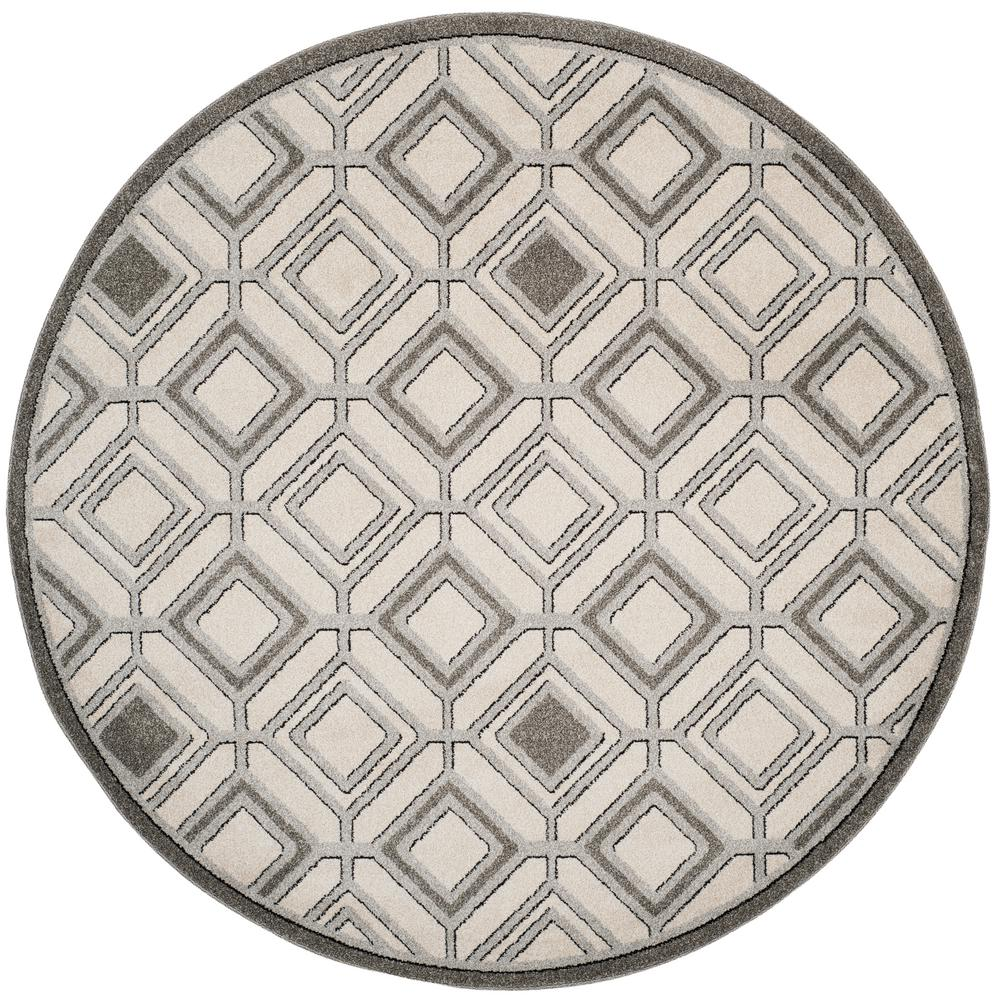 Amherst Ivory/Light Gray 7 ft. x 7 ft. Indoor/Outdoor Round Area