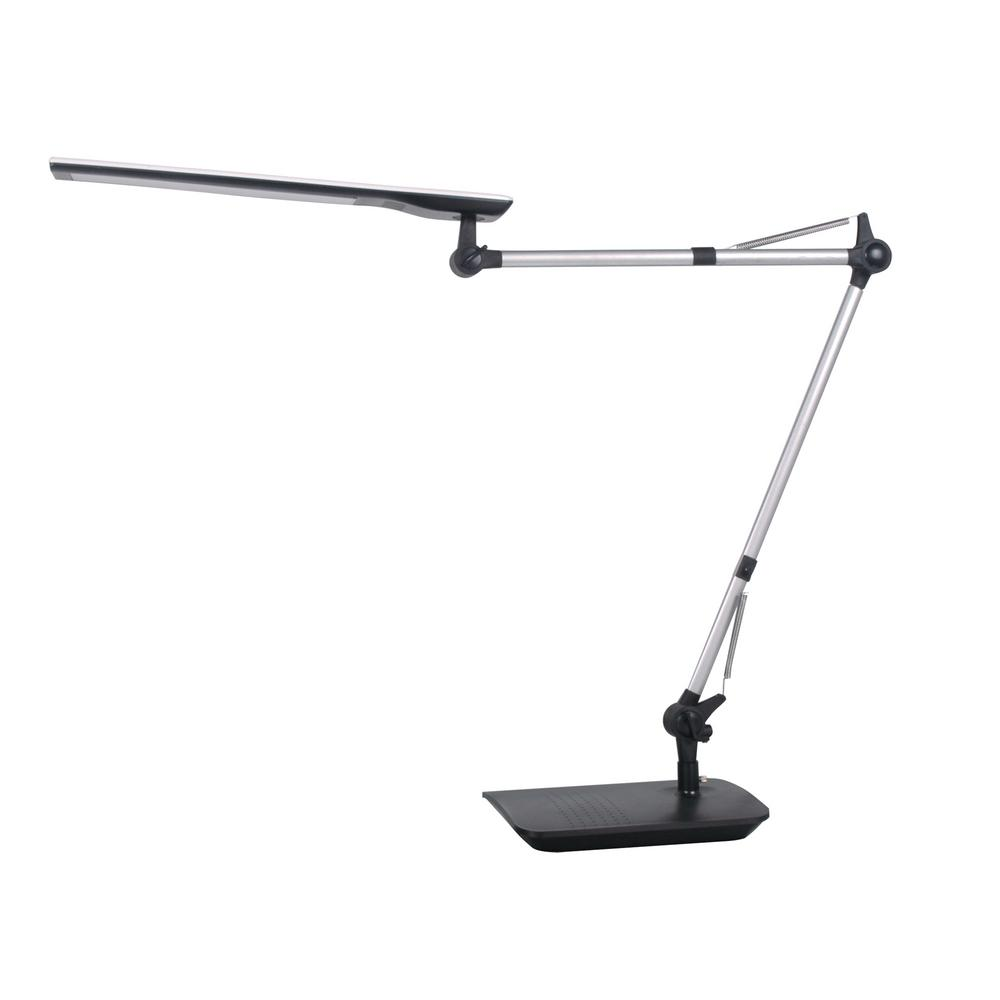 35 in. Silver/Black LED Desk Lamp with Adjustable Double Arm and