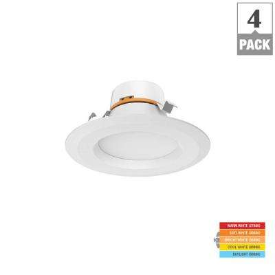 4 in. Matte White Integrated LED Recessed Trim (4-Pack)