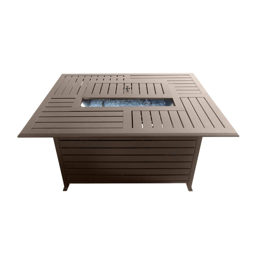 Marvelous AZ Patio Heaters 49.5 In. Rectangle Slatted Aluminum Firepit In Bronze