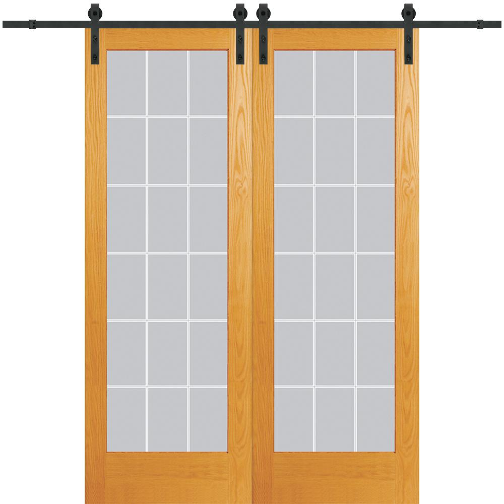 Mmi Door 64 In X 96 In Clear 18 Lite V Groove Unfinished Pine