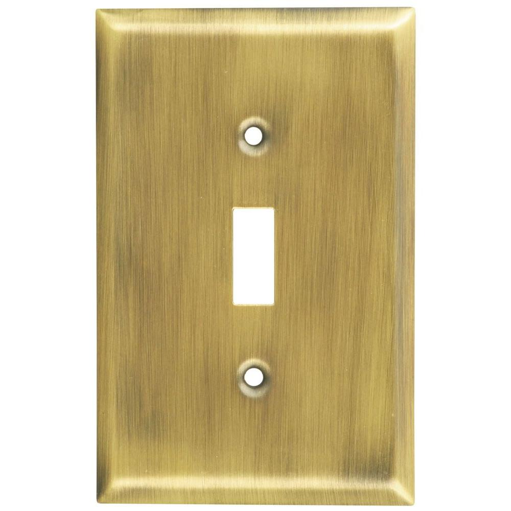 Stanley-National Hardware 1 Toggle Wall Plate - Antique Brass-V8000 ...