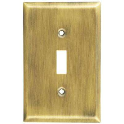 1 Toggle Wall Plate - Antique Brass