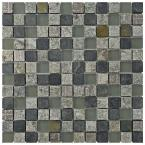 Granito Fauna Verde 12 in. x 12 in. x 8 mm Glass and Natural Stone Mosaic Tile