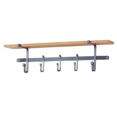 Handcrafted 36 in. Hammered Steel Coat Rack with Solid Hardwood Shelf with 5-Hooks