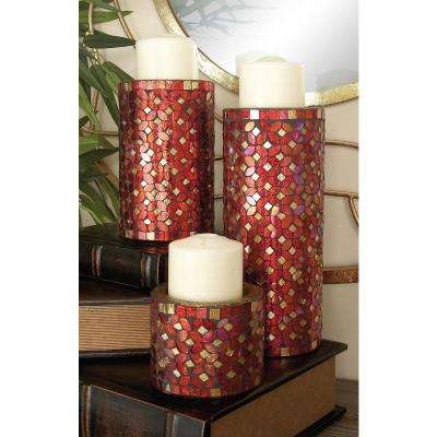 11 in., 7 in. and 4 in. New Traditional Iron Round Mosaic Candle Holder in Red (Set of 3)