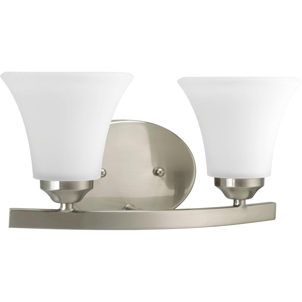 Adorn Collection 2-Light Brushed Nickel Vanity Light with Etched Glass Shades