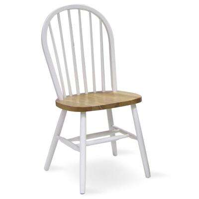 White and Natural Wood Spindle Back Windsor Dining Chair