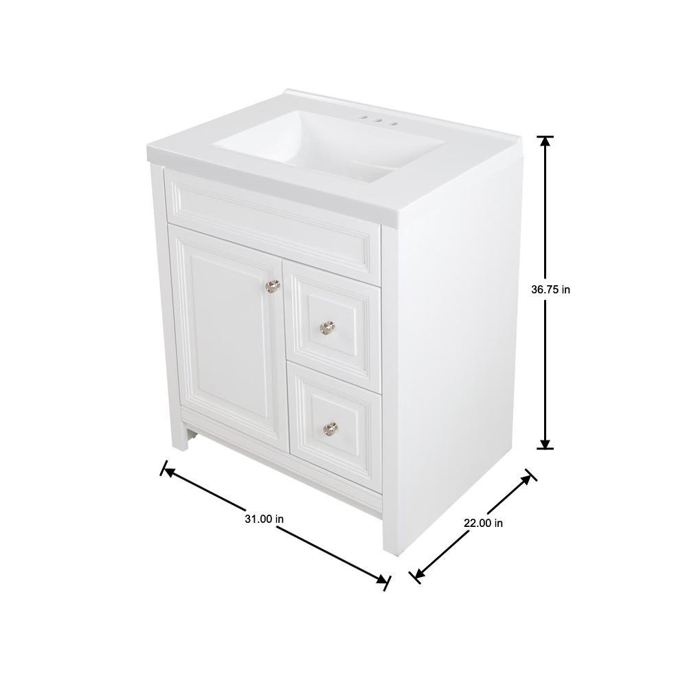 Brinkhill 31 in. W x 22 in. D Bath Vanity in White with Cultured Marble Vanity Top in White with White Sink