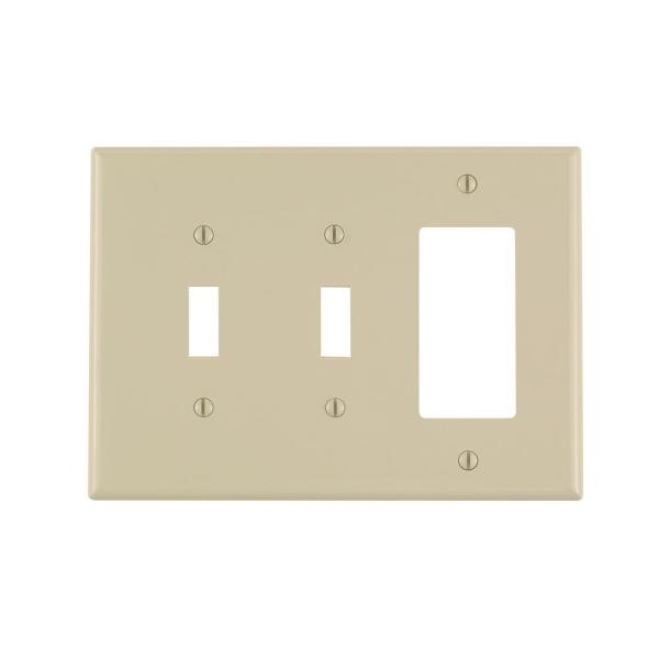 Decora 3-Gang Midway 2-Toggle Combination Nylon Wall Plate, Ivory