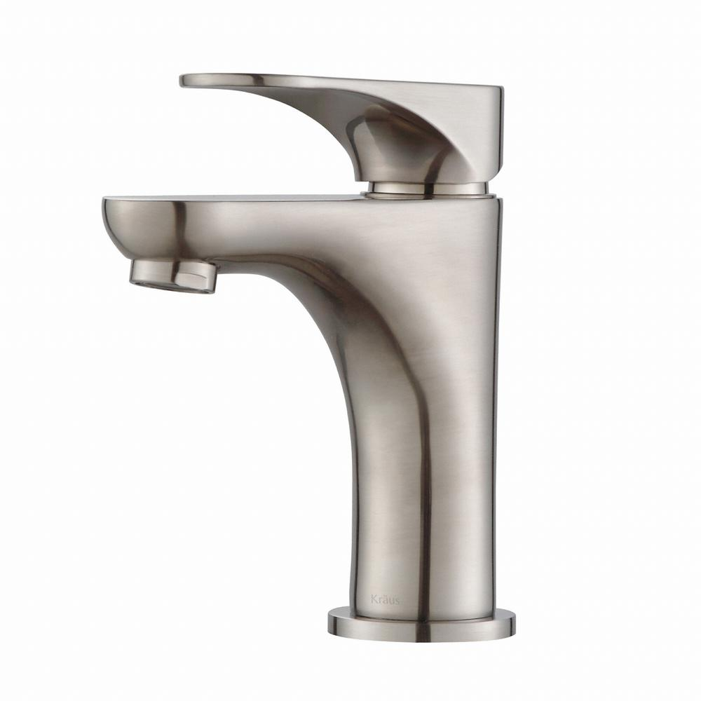 Aquila Single Hole Single-Handle Basin Bathroom Faucet in Brushed Nickel