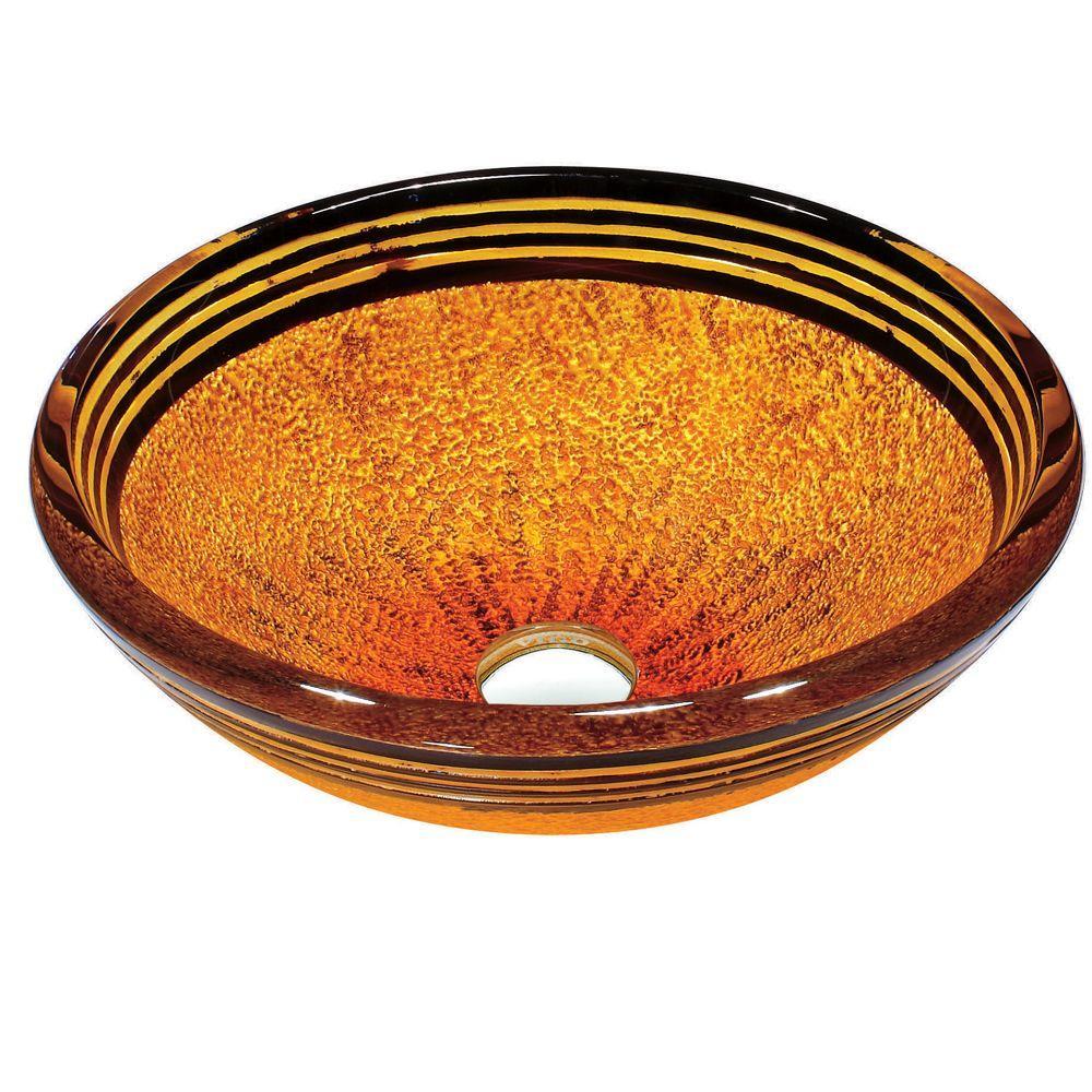 Vigo Tempered-Glass Vessel Sink in Tangerine-DISCONTINUED
