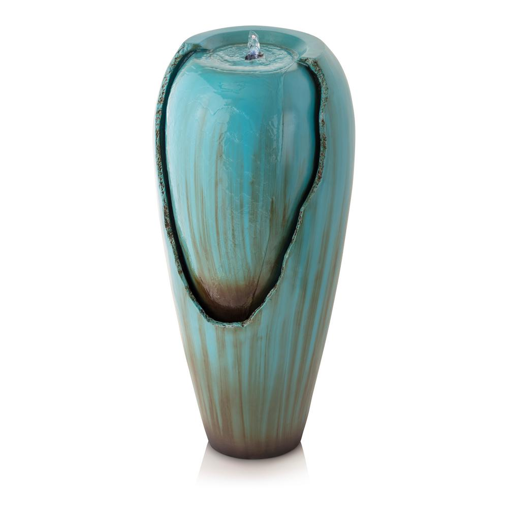 Alpine Corporation Turquoise Jar Outdoor Waterfall Fountain with LED Light