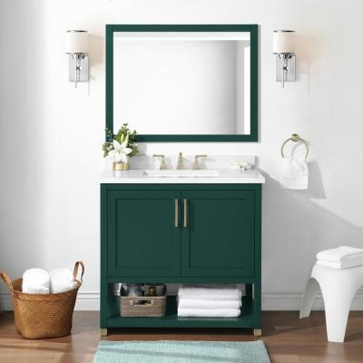 Kenmont 36 in. W x 22 in. D Vanity in Emerald Green with Cultured Marble Vanity Top in White with White Basin