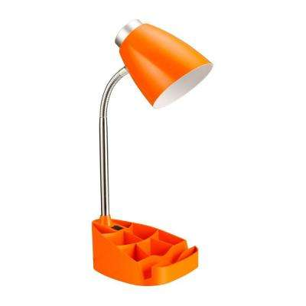 17.25 in. Gooseneck Orange Organizer Desk Lamp with iPad Tablet Stand Book Holder
