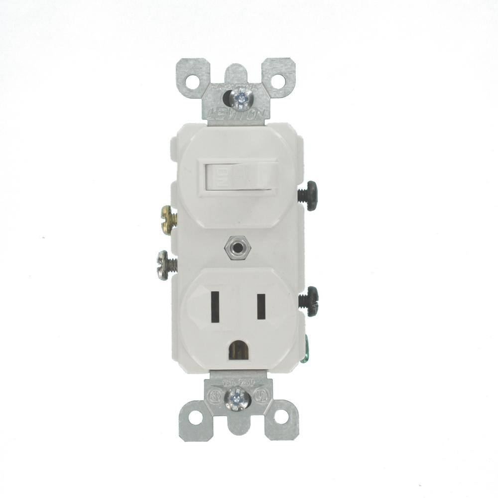 Leviton 15 Amp Combination Switch/Outlet, White-5225-WS - The Home Depot