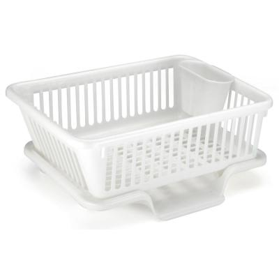 17.5 in. W x 12.5 in. D x 7.5 in. H Plastic Dish Rack with Drain Board and Utensil Cup