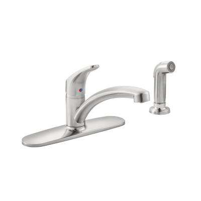 Colony Pro Single-Handle Standard Kitchen Faucet with Side Spray and Deck Plate in Stainless Steel