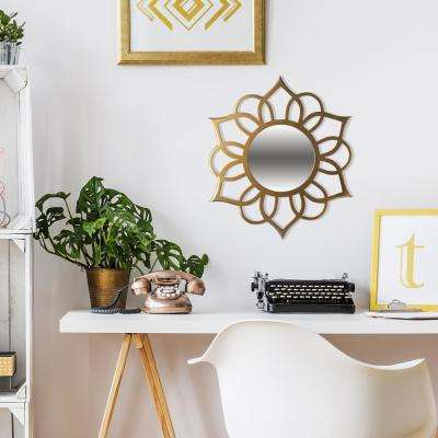Ornate Accent Round Beige Wall Mirror