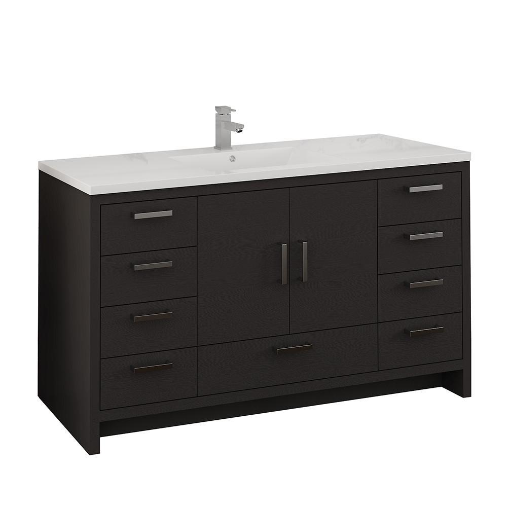 Imperia 60 in. Modern Bathroom Vanity in Dark Gray Oak with Vanity Top in White with White Basin