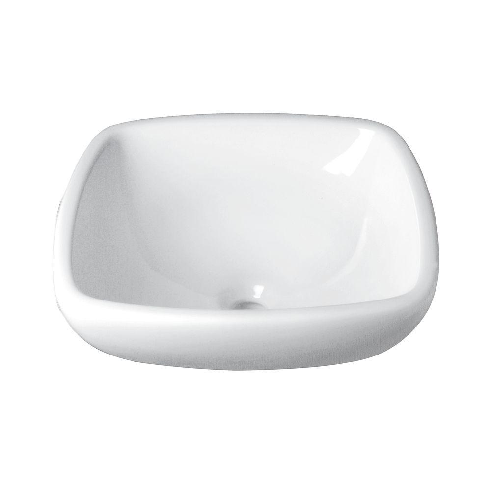 Classically Redefined Semi-Recessed Square Vessel Sink in White