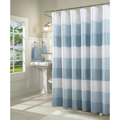 Ombre 72 in. Aqua Waffle Weave Fabric Shower Curtain