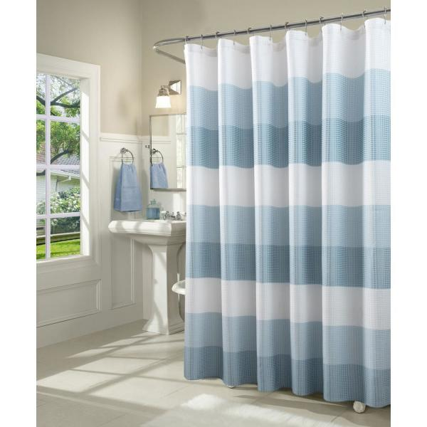 Dainty Home Ombre 72 in. Aqua Waffle Weave Fabric Shower Curtain