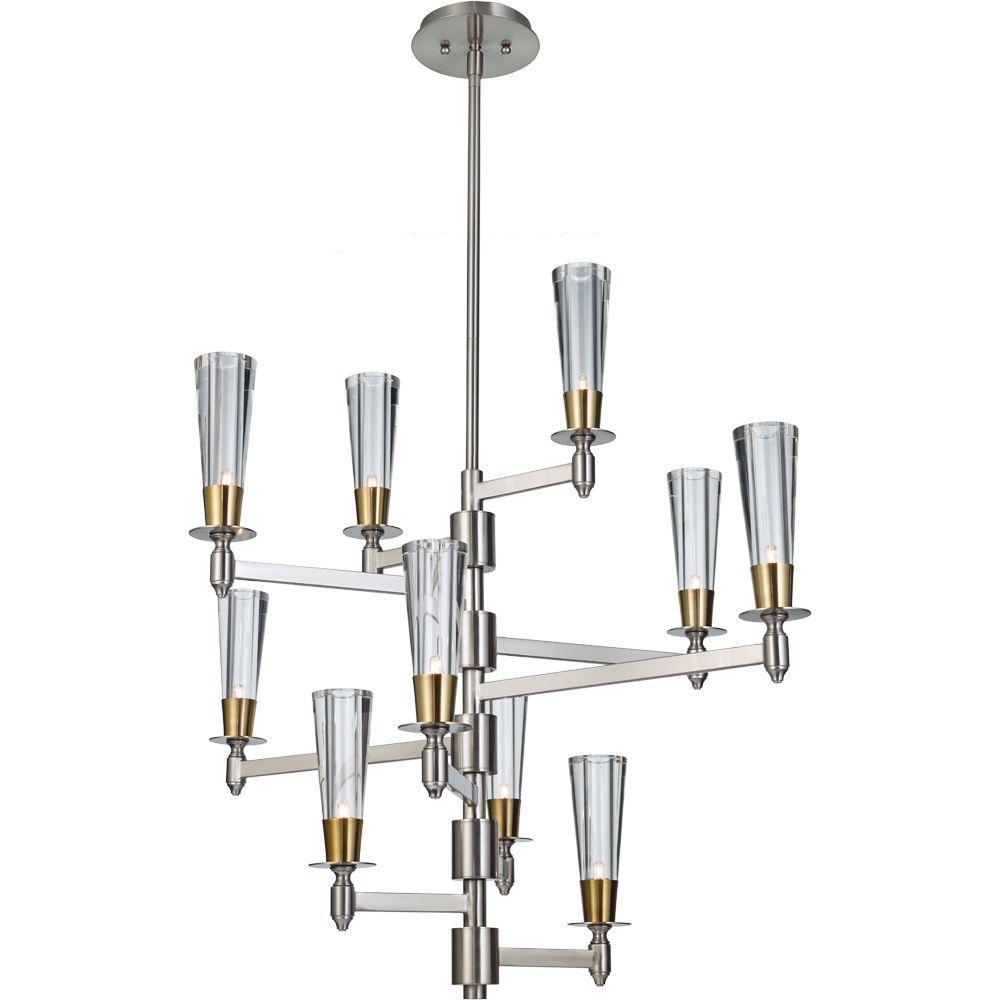 Feiss Celebration 10-Light Brushed Nickel/Natural Brass Chandelier