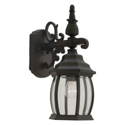 1-Light Outdoor Black Wall Lantern Sconce with Clear Beveled Glass