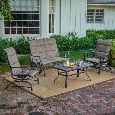 River Oak 4-Piece Metal Patio Conversation Set with Padded Sling