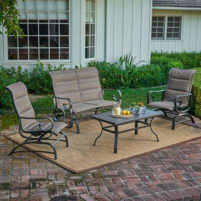 River Oak 4-Piece Patio Conversation Set with Padded Sling